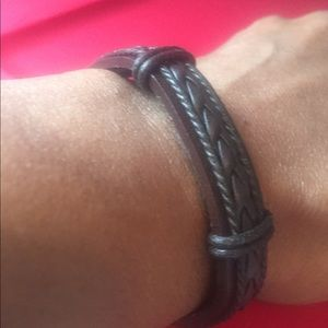Brown and black leather braided bracelet